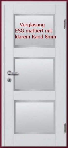 Türblatt Weißlack Basic-Casa 35 LA 3, mit Verglasung ESG mattiert mit klarem Rand 8mm
