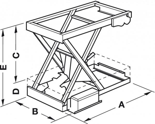 Verschwindibus, elektr. Hebesystem Tragkraft 80 kg, mit einfache Scherenmechanik (Gr:1), 421.65.115