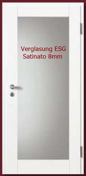 Türblatt Weißlack Basic-Casa 10 LA 1, mit Verglasung ESG Satinato 8mm