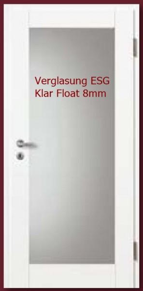 Türblatt Weißlack Basic-Casa 10 LA 1, mit Verglasung ESG Klar Float 8mm