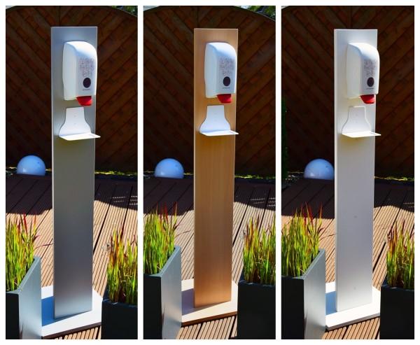 Hygienespender-Set aus Holzdekor mit 5 ltr. Desinfektionsmittel
